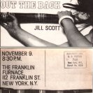"Franklin Furnace notice for Jill Scott's ""Out the Back"" performance (1979)"