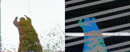 Pair of frames from the video installation Shared Shadow.