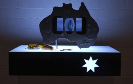Screen Idol (Australiana) Wake Up and Puke, Acrylic lightbox material, glass , coins , timber, LCD screen, DVD video with sound, H 15cm W 70cm D 55cm, 2006