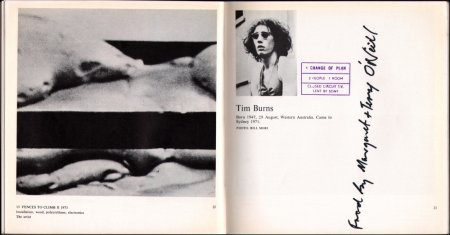 The catalogue entry, hand modified by Tim Burns, for his installation at Recent Australian Art, 1973.