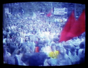 Crowd scene at the 1st anniversary rally from The Greatest Advertising Campaign ... [from the video]