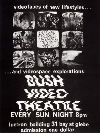 Poster for Bush Video Theatre at the Fuetron buildoing, 1973
