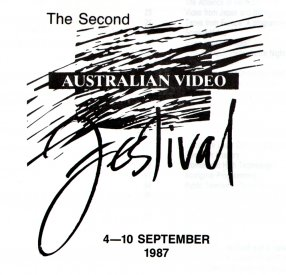 The logo for the Catalogue of the 2nd Australian Video Festival,Sydney, September 4-10 1987.