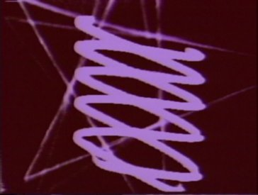 Frame from I Know Nothing with DNA-like Lissajous figure, and computer graphic in background. Bush Video 1974.