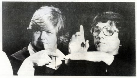 Production still from Dasha Ross' and Alexandra Hynes' Keep it Down to A Shout (1978): with the Deaf Theatre of NSW) from the catalogue for Project 30 Some Recent Australian Videotapes.