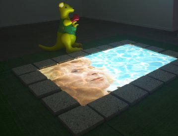 Ask Noelene...Not the ogre, Pebblecrete, astro turf, polystyrene, PVC, HD 1080p video with sound, Dimensions variable, 2009