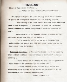 Peter Kennedy's instructions for Indefintion Transference No.1 from the Inhibodress Video Tapes catalogue.