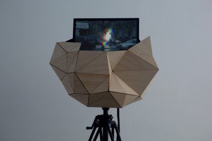 Sam Smith, Time Travel (2009), Single channel HD video installation Hoop pine plywood, polyester resin, fiberglass, polyurethane foam, enamel, tripod, LCD monitor, Courtesy the artist and GRANTPIRRIE, Sydney