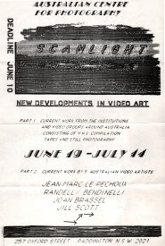 Announcement for the SCANLIGHT exhibition held at the Australian Centre for Photography, June 19 - July 14, 1985. scanlight_acp_announcement_1985_1000h.jpg