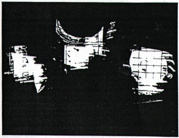 Illustration for the Joan Brassil entry in the Scanlight catalogue. The reflections of the video mionitors in the distorted perspex used for the installtion