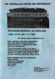 Cover for the catalogue of SCANLIGHT at the ACP, 1985.