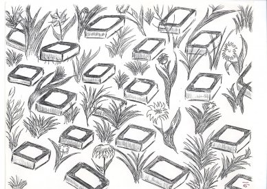 Installation drawing of the TV Garden by Frank Pillegi. [collection: Stephen Jones]