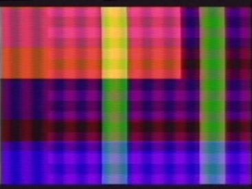 Video synthesiser frame from Laughing Hands, Departure Lounge, 1981.